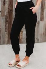 Siyah Cepli Beli Lastikli Jogger Pantolon
