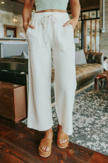 Beyaz Büzgülü Beli Kırışık Geniş Paça Pantolon