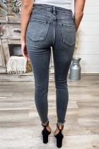 Yüksek Belli Yıpranmış Bilek Skinny Jeans