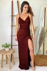 Burgundy Glitter Maxi Dress with Slit