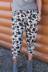Beli Lastikli İnek Desenli Pantolon