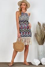 Mini-robe dos nu géométrique aztèque dos nu à pampilles