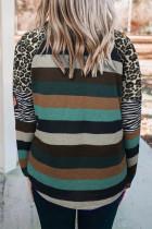 Mikina s kapucí Leopard Patchwork Colorblock