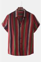 Pruhovaná pánská košile s krátkým rukávem a knoflíky