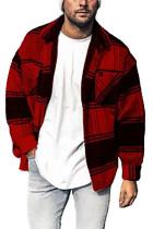 Pánská bunda s červeným kostkovaným potiskem