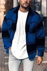 Pánská bunda s modrým kostkovaným potiskem