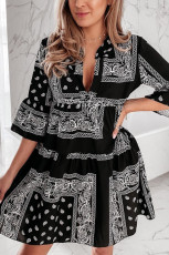 Black Geometric Tribal Print 3/4 Flared Sleeve Mini Dress