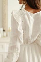 White V Neck Lace Ruffle Crinkled Puff Long Sleeve Mini Dress