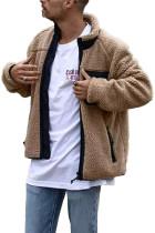 Khaki stojanový límec na zip Sherpa pánský kabát
