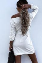 Màu trắng Crewneck Dài tay Thắt lưng Thường phục Mini Dress
