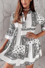 Spî Geometric Eşîrî Print 3/4 Flared Sleeve Mini Dress