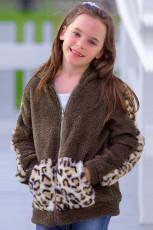 Dívčí bunda s kapucí z umělé fleece s leopardím potiskem
