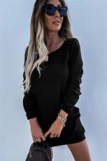 Màu đen Crewneck Dài tay Thắt lưng Thường phục Mini Dress