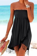 Siyah Büzgülü Şal Püskül Straplez Mini Elbise