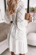 Beyaz Düz Renk V Yaka Dantel Ekleme Mini Elbise