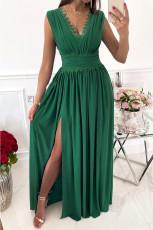 그린 크로셰 V넥 민소매 주름 장식 하이 웨이스트 맥시 드레스
