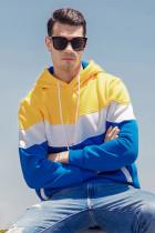 Sarı Renk Bloklu Kanguru Kapşonlu Erkek Kapşonlu Sweatshirt