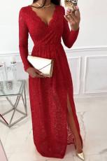 Kırmızı Uzun Kollu V Yaka Bölünmüş Dantel Maxi Elbise