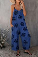 Mavi Palmiye Yaprakları Desenli Spagetti Askı Geniş Bacak Tulum