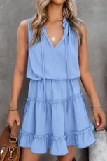 Gök Mavisi Kolsuz V Yaka Fırfırlı Salıncak Mini Elbise