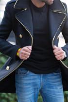 Siyah Yaka Yaka Düğmeli Cepli Erkek Ceket
