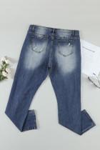 Himmelsblå blommigt leopardmönster med lapptyg Jeans med hög midja