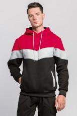 Ανδρικό φούτερ με κόκκινο χρώμα Block με κουκούλα και καγκουρό