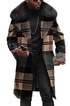 Erkek Ekose Yün Dar Kesim Kürk Yaka Ceket Ceket
