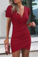 Kırmızı Kadın Yaz Bodycon Düz Renk Elbiseler Moda V Yaka Seksi Mini Elbise Kısa Elbise