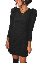 Siyah Uzun Puf Kol Nervürlü Mini Elbise
