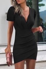 Siyah Kadın Yaz Bodycon Düz Renk Elbiseler Moda V Yaka Seksi Mini Elbise Kısa Elbise