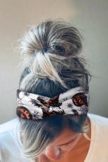 Pumpkin Spider Web Print Twist Wide Headband