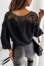 Siyah Dantel Ekleme Kravat Düğüm Çan Kol Bluz
