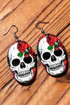 Halloween Skull Floral Print PU Leather Earrings