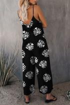 Siyah Palmiye Yaprakları Desenli Spagetti Askı Geniş Paça Tulum