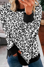 Yırtmaçlı Beyaz Leopar Kazak Sweatshirt