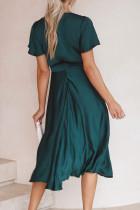 Yeşil Derin V Yaka Flutter Kol Yüksek Bel Flare Midi Elbise