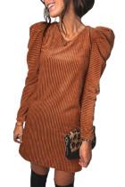Kahverengi Uzun Puf Kol Nervürlü Mini Elbise
