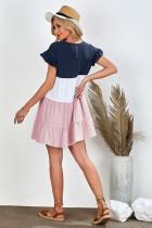 Rózsaszín fodros ujjú többszintű blokk mini ruha