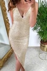 Altın V Yaka Bodycon Pullu Elbise