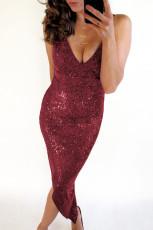Kırmızı V Yaka Bodycon Pullu Elbise