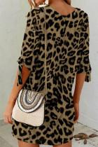 Haki Leopar Shift Mini Elbise