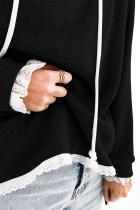 Fekete sima kapucnis csipke díszítéssel