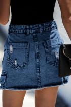Blauer Denim-Minirock im Used-Look mit hoher Taille und Tasche