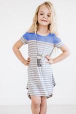 Taivaansininen Colorblock Patchwork Raidallinen tyttöjen mekko