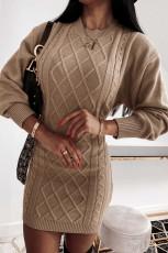 Abito in maglione aderente con trama geometrica albicocca