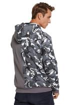 Γκρι Camo Color Block Kangaroo Pocket Ανδρικό Hoodie
