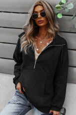 Czarna pikowana bluza z krótkim zamkiem błyskawicznym
