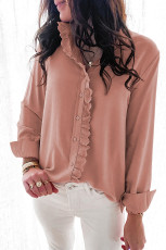Pink Solid Color Lace Frilled Trims Long Sleeve Shirt