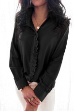 Black Solid Color Lace Frilled Trims Long Sleeve Shirt